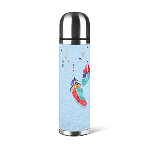 Botella de agua reutilizable de 500 ml de belleza colorida pluma de acero inoxidable botellas a prueba de fugas aisladas al vacío doble pared mantener 24 horas frías 12 horas caliente