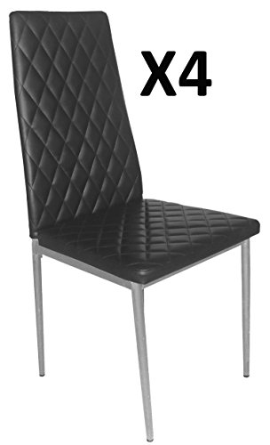 PEGANE Lot de 4 Chaises Longue de Salon Noir/Gris Argent, 500 x 415 x 950 mm