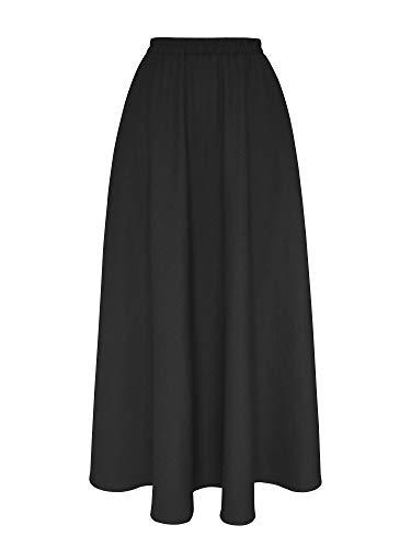 Falda Larga Mujer de Lino Plisado Cintura Elástica Color sólido con Bolsillo - Negro 80CM
