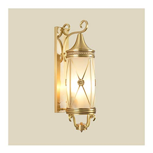 W. Lámpara de pared for exteriores, totalmente de cobre, lámpara de jardín de villa europea, lámpara de pared a prueba de herrumbre impermeable, luces de pared minimalistas estadounidenses de la sala