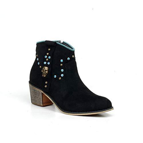 HERIXO Damen Schuhe Stiefeletten Totenkopf türkise Steine Verzierung niedriger Halbschaft Indianer Karneval Blockabsatz Stiefel(40 EU,Black)