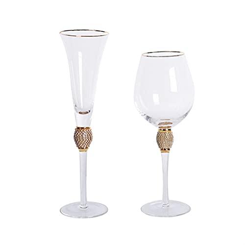 JSJJAKM Copa de cristal con borde dorado para cócteles con incrustaciones de diamante, juego de copas de champán y cristal de uva para el hogar, bar taza de vino tinto hecho a mano