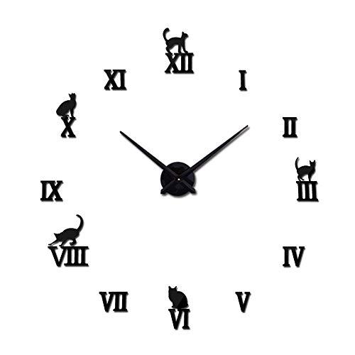 OERTUFU Reloj de Pared Reloj de Pared Gran Formato Creativo Sala de Estar DIY Reloj Europeo y Reloj de Pegatinas de Pared de Espejo 3D Simple (Color:Oro) (Color : Nero)