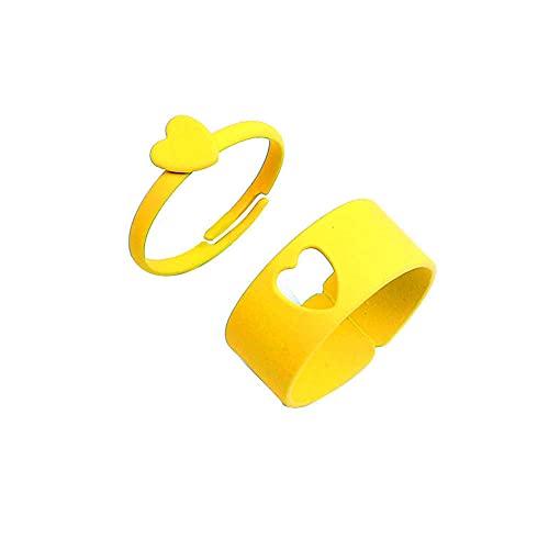 2 anillos abiertos de amor de color caramelo para las mujeres anillos de dedo para las niñas amantes de las parejas-amarillo