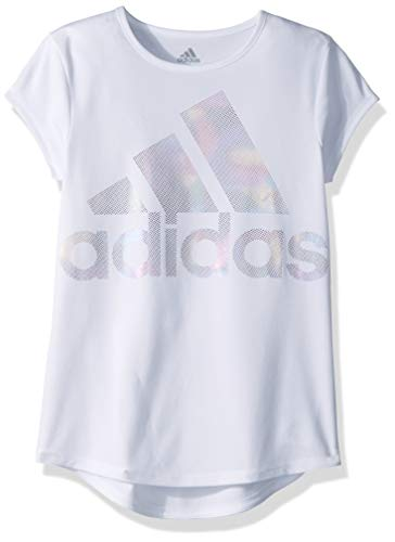 adidas Girls' Big Short Sleeve Scoop Neck Tee T-Shirt, White BOS Foil Rainbow, Small