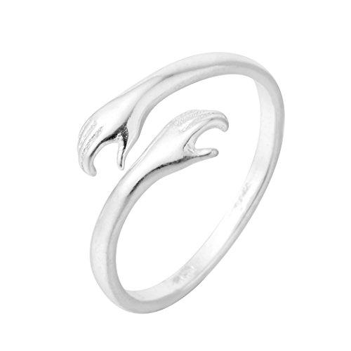 Atractivo doble mano Hug a you dedo anillos 925plata joyas para mujeres hombres abierto ajustable