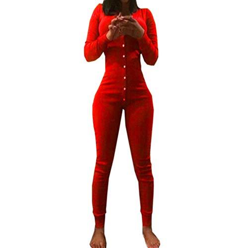 Battnot Damen Jumpsuit Sexy V-Ausschnitt Cocktailparty Clubwear, Frauen Overalls Elegant Langarm Romper Strampler Lange Hosen Womens Schlanke Passform Festlich Hochzeit Spielanzug Schwarz Rot XL