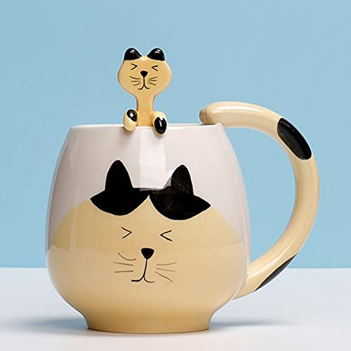 XMYNB Mug Cat Mug and Spoon Cute Animal Mug for Milk,Coffee,Drinking Water-Cat