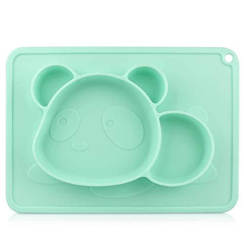 Piatti Bambini - RIGHTWELL Piatto per Bambini in Silicone, Piatti per Bambini Senza BPA - Tovaglietta per Bambini in Silicone Antiscivolo con Ventose per Neonati, Bambini (Verde)