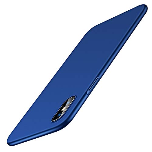 TORRAS Ultra Dünn für iPhone X Hülle/iPhone XS Hülle mit Panzerglas [1 Hülle+1 Panzerglas] Slim Matte iPhone X Hülle/iPhone XS Hülle Anti-Fingerabdruck Handyhülle für iPhone X/Xs-Blau