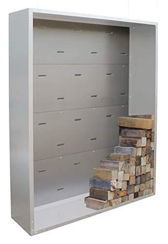 Palatino Exclusive Line Woodpecker Paroi arrière pour étagère à bois de cheminée Acier galvanisé 100 x 120 cm