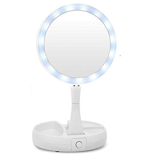 Vetrineinrete® Specchio cosmetico da Trucco Zoom 10x Regolabile Illuminato Estensibile per ingrandimento Portatile Girevole richiudibile con Luce LED Base da Tavolo ø 16 cm C32