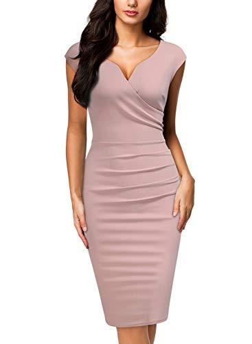 Miusol Women's Vintage Slim Style Sleeveless Business Pencil Dress (Medium, Pink)
