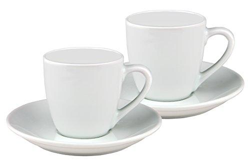 Van Well 2er Set Espressotasse Bistro/Gloria 10cl mit Untertasse 12cm - klassisch - weiß - aus Porzellan