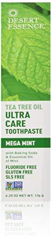 Desert Essence Natural Tea Tree Oil Ultra Care Toothpaste - Mega Mint - 6.25 Oz - Helps Soothe Gums & Reduce Plaque - Freshens Breath & Cleans Teeth - Oral Care - Defends Against Sugar Acids