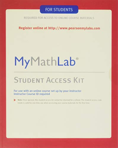 Compare Textbook Prices for MyMathLab: Student Access Kit 4 Edition ISBN 9780321199911 by Pearson Education, Hall H