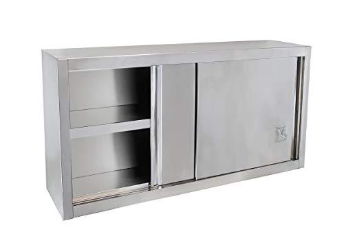 Beeketal 'BWS120' Gastro Küchen Wandhängeschrank aus Edelstahl mit auf Rollen gelagerte Schiebetüren, Hängeschrank mit fest verbautem Einlegeboden - Außenabmessungen (L/B/H): ca. 1200 x 400 x 650 mm