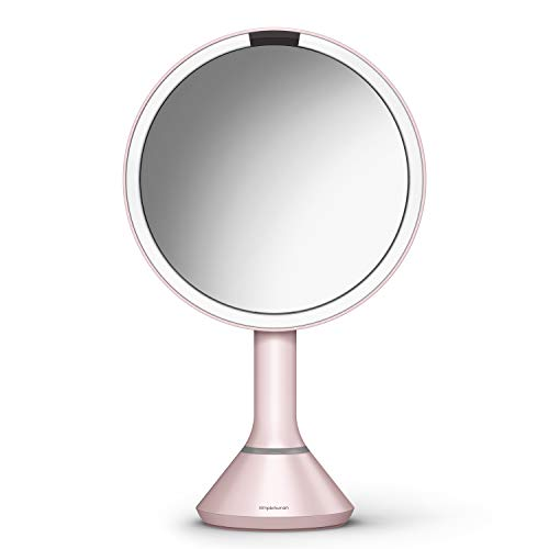 """simplehuman 8"""" Round Sensor Makeup Mirror with Touch-Control Dual Light Settings, 5x Magnification, Rechargeable and Cordless, Pink Stainless Steel"""