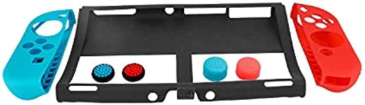 Conjunto de proteção de silicone é adequado para Nintendo Switch OLED host, manga de borracha com tampas de proteção esque...