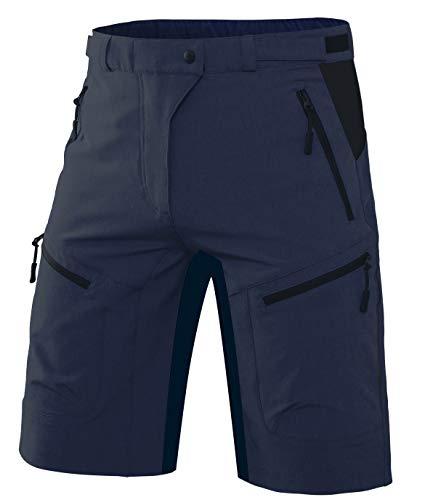 Wespornow Herren MTB Kurze Hose Schnelltrocknend-Atmungsaktiv MTB Bike Shorts-Mountainbike Hose Wasserabweisend-Fahrradhose mit Reißverschlusstaschen(Navy,M)