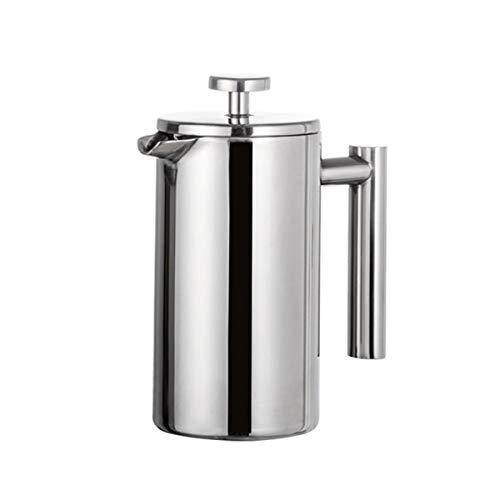 Greatangle-UK French Press Kaffeemaschine aus Edelstahl Doppelwandige Cafetiere Isolierte Kaffeeteekanne mit Filterkörben Silber 800ml