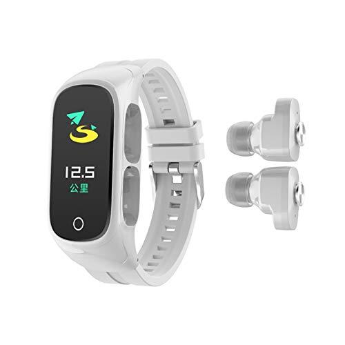 LYB Disponibles Kumi SmartBand N8 Pulsera Inteligente 0.96'AMOLED Pantalla Colorida Color CORTÁNICA Correo DE Fitness Rastreador Bluetooth 5.0 Auriculares (Color : White)