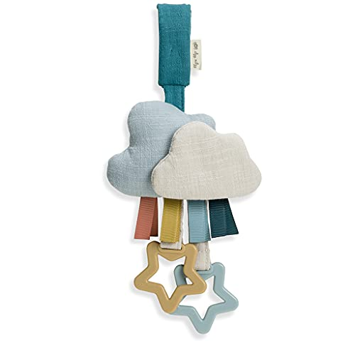 Itzy Ritzy Bitzy Bespoke Jingle Travel Toy for Stroller, Car Seat or Activity Gym, Features Jingle Sound, Hexagon Rings and Adjustable Attachment Loop, Cloud