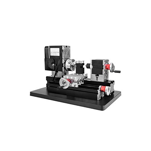 Mini Lathe,Lathe Tool Kit,Lathe with Powerful Motor 12000Rpm,Hss Turning Tool, Belt Protection Cover,60W Power Metal Machine