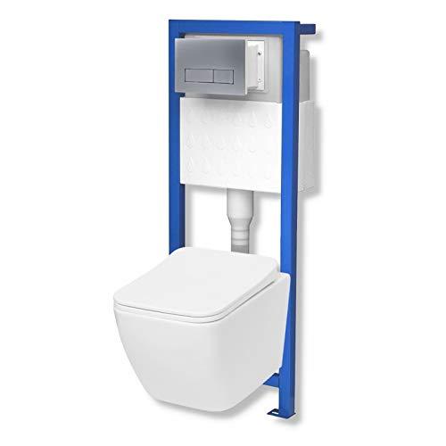 Domino Lavita Vorwandelement inkl. Drückerplatte+ Wand-WC Lino ohne Spülrand + WC-Sitz mit Soft-Close Absenkautomatik Drückerplatte RS (mattverchromt)