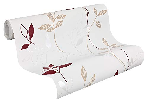 A.S. Création Vliestapete Avenzio Tapete floral 10,05 m x 0,53 m creme rot Made in Germany 249739 2497-39