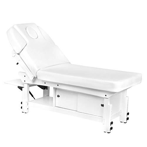 Activeshop Kosmetikliege Massageliege Massagetisch Massagestuhl 376A Weiss bis 200 kg belastbar Premium-PU-Leder