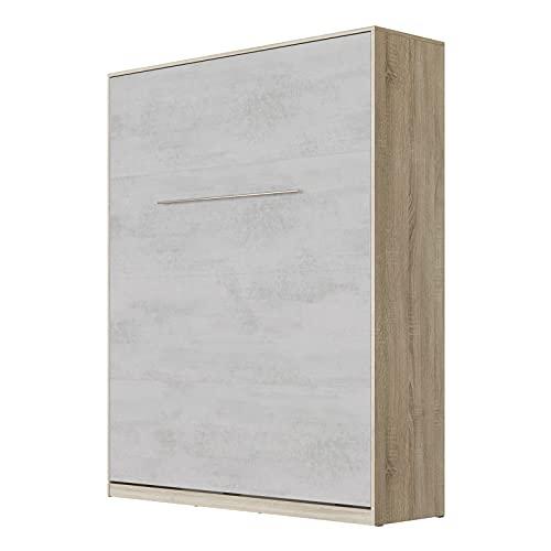 SMARTBett Standard 160x200cm Vertical Roble Sonoma/Concreto   Cama Abatible, Cama De Pared, Cama Plegable, Cama Oculta