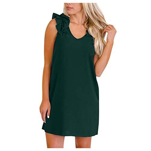 Janly Clearance Sale Vestidos para mujer, moda para mujer, cuello en V, sin mangas, hombros plisados, casual, mini vestido sin mangas, vestido de tirantes (verde/L)