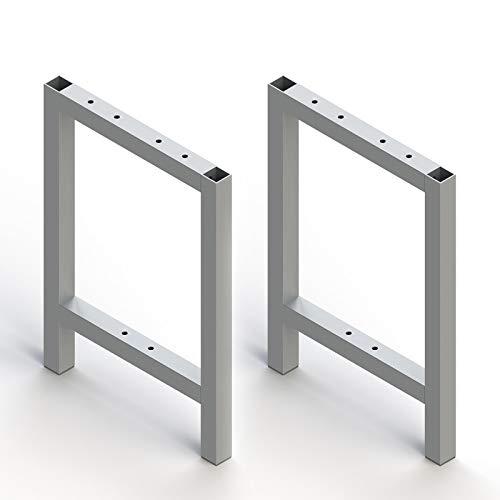 Emuca - Pies rectangulares para muebles, lote de 2 patas laterales para bancos y banquetas, aluminio, anodizado mate.