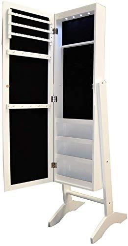 Natsen Schmuckschrank mit LED Beleuchtung Schmuckregal Spiegelschrank Standspiegel Schmuckkasten Holz Weiß SCJ375 153 x 35x 35,5cm