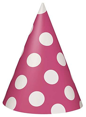takestop® Hoed Cono Pois Cap van papier bonte ballen Bianchi hoeden monouse voor party verjaardag party geboorte doop, Set 36 pezzi, Fuchsia