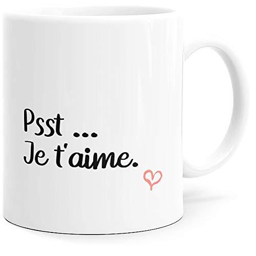 Taza con texto en inglés 'Happy Psst Je T'aime', ideal como regalo original para pareja, enamorados, colegios, hermanas, madres, esposas, cumpleaños, San Valentín, Navidad, etc.