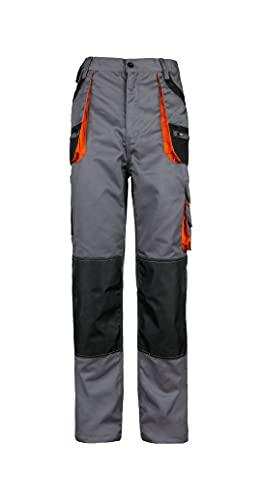 Stenso des-Emerton - Pantaloni da Lavoro Slim Fit - Uomo - con Elastico in Vita - Grigio/Nero/Arancione - 46