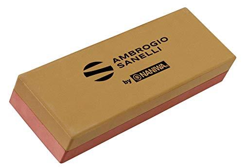 Sanelli Ambrogio - Piedra para afilar. Grano 1000/3000. Afilado, pulido y acabado de cuchillos. Incluye funda, soporte de plástico.
