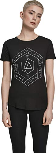Linkin Park One More Light tee - Camiseta Ajustada para Mujer, con Logotipo y Texto en inglés, Mujer, Camiseta, MC264, Color Negro y Verde Oliva, Small