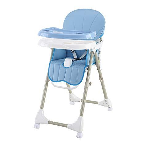NSWDC 4 Ruedas Trona Plegable alimentación de Asiento/Doble con Bandeja extraíble y 3 Puntos de Seguridad/ergonómico/cómodo/fácil de Limpiar,Azul