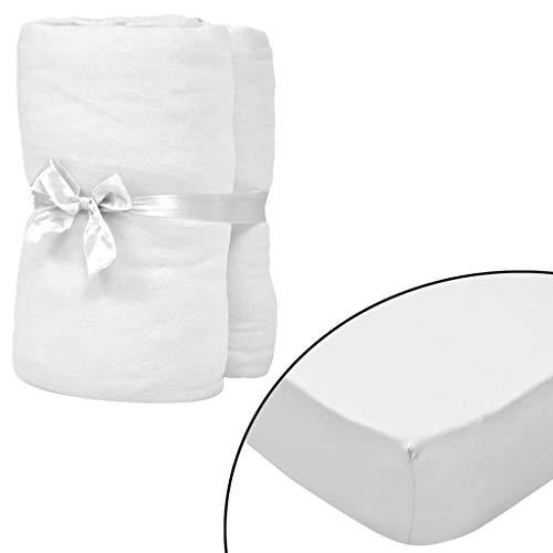 Geniet van winkelen met Hoeslaken waterbed 200x220 cm katoenen jersey stof wit 2 st