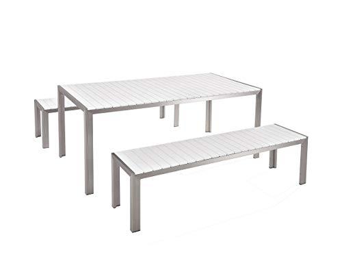 Praktisches Gartenmöbel Set Kunstholz 2 Bänke Tisch weiß Nardo