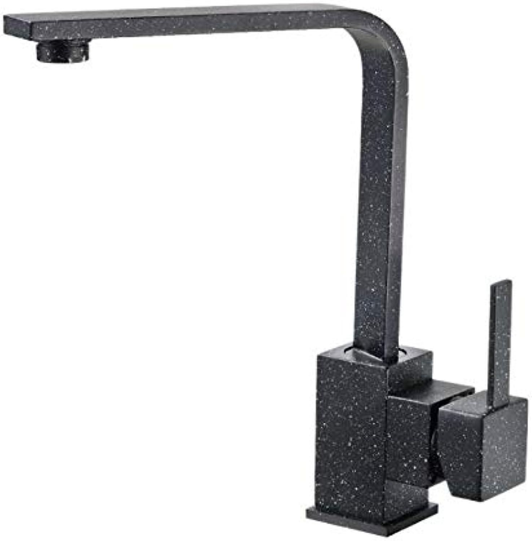 BBQBQ Kupfer heie und kalte Küche Quarz Stein Topf Wasserhahn kann universell schwarz Farbe Wasserhahn gedreht Werden