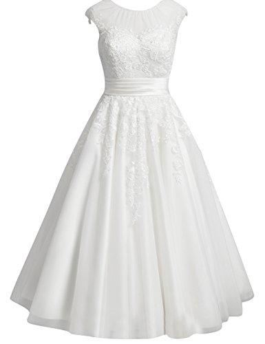 Brautkleider Kurz Spitze Tüll A-Linie Hochzeitskleider Standesamt Kleider Damen Rundhals Schlitz Wadenlang Schlicht Elfenbein 34