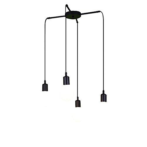 HJXDtech - Éclairage créatif de bricolage Lustre rétro industriel 4 lumières Lampe suspension de plafond Salle à manger Loft Pendentif