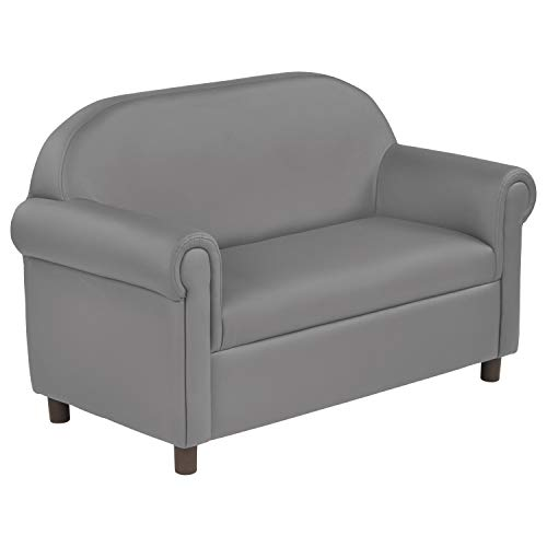 Little Lux Upholstered Youth Sofa, Plush Furniture for Kids Room, Classroom, Daycare - Gray