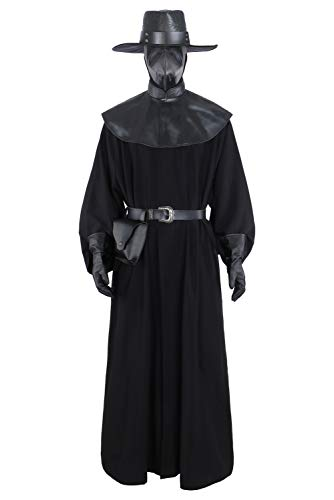 Manfu Disfraz medieval Steampunk para hombre con perdoctor de pesto, juego de accesorios S