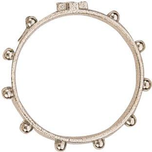 Anillo Rosario de metal niquelado con 10 cuentas incrustadas - diámetro interno de 20 mm (paquete de 46 piezas)