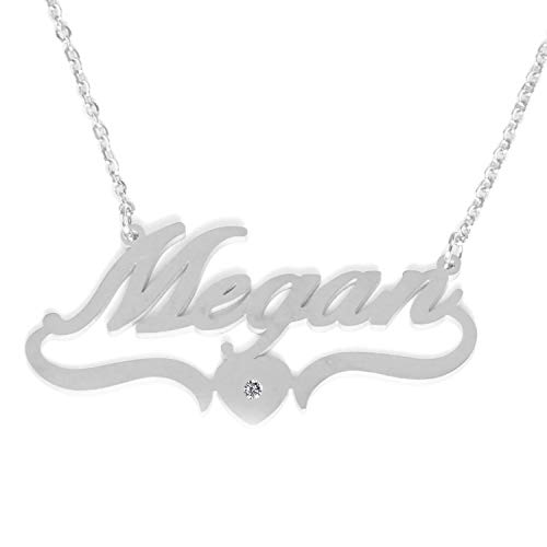 Kigu Megan Personalized Heart Shaped Name Necklace Adjustable Chain - Silver Tone Packaging